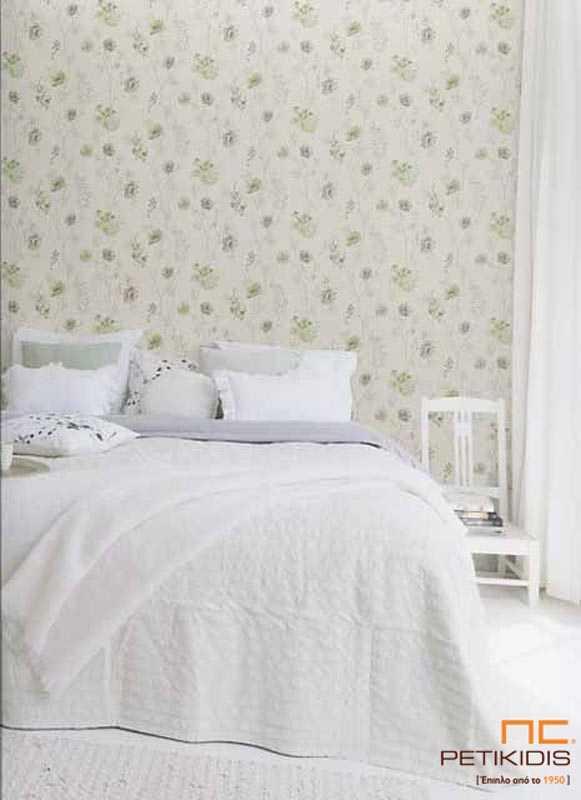 Ταπετσαρία Τοίχου Rasch Amelie με Πράσινα / Γκρι Vintage Λουλούδια - 573473