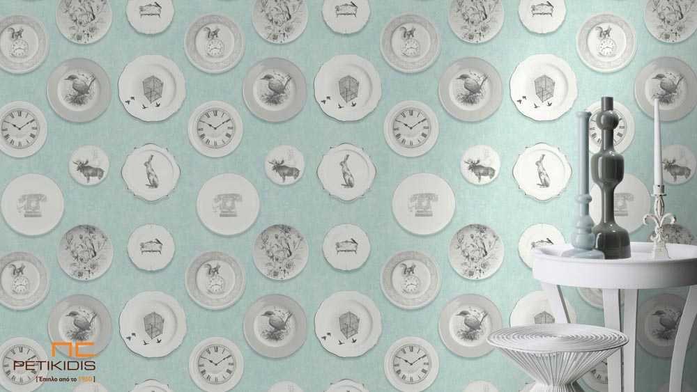 Ταπετσαρία Τοίχου Rasch Deco Relief Βεραμάν με Vintage Σχέδια από Πιάτα, Ρολόι & Ζώα - 512021