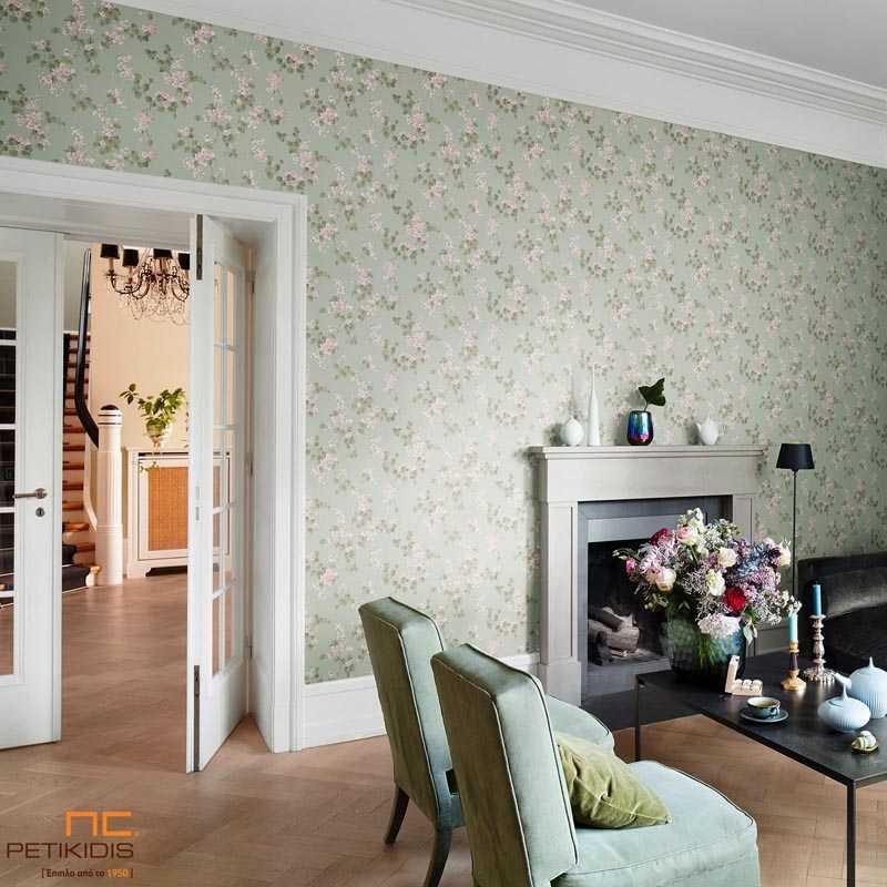 Ταπετσαρία Τοίχου Rasch Souvenir Πράσινα Λουλούδια Floral Vintage - 51537