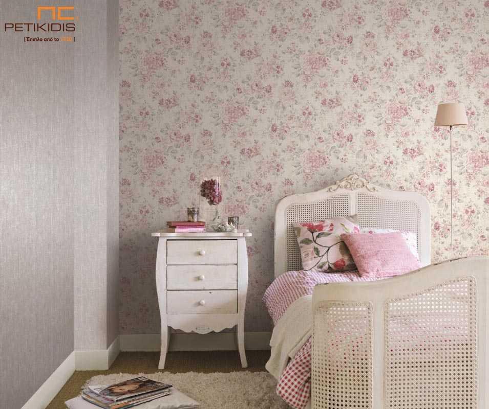 Ταπετσαρία Τοίχου Rasch Souvenir Λουλούδια Floral Vintage Ροζ - 516029