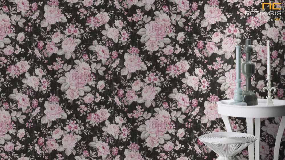 Ταπετσαρία Τοίχου Rasch Souvenir Μαύρο / Εκρού / Ροζ Λουλούδια Floral - 516036