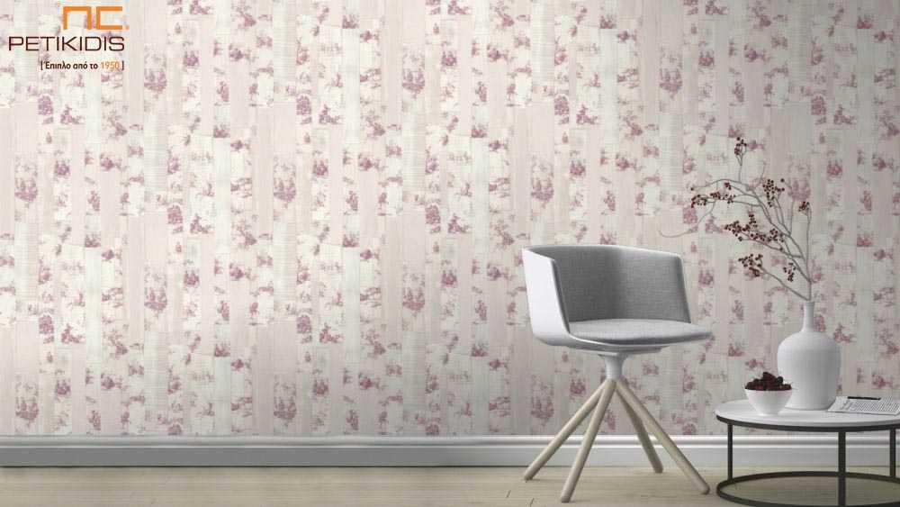 Ταπετσαρία Τοίχου Rasch Souvenir Λουλούδια Ροζ Floral με Λωρίδες - 516326