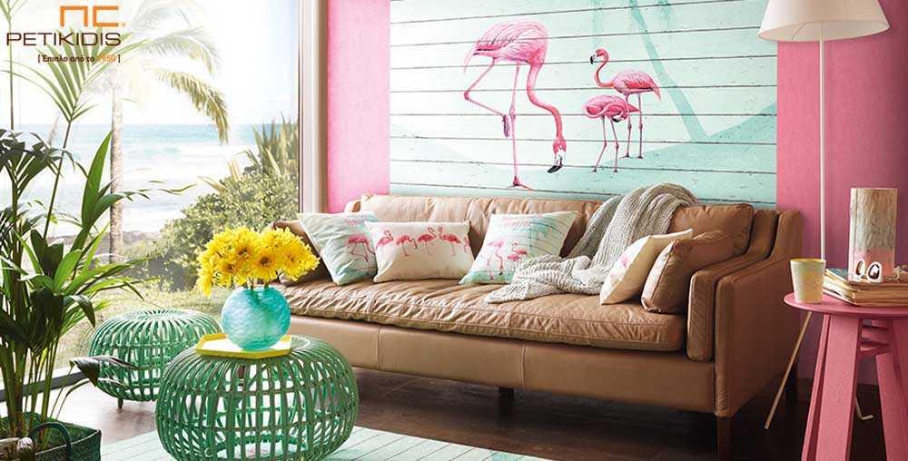 Ταπετσαρία Wallpaper Φλαμίνγκο - Θέμα Πάνελ
