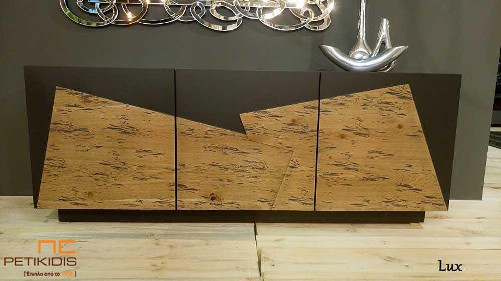 Μπουφέ Lux σε συνδυασμό λάκας και ρουστίκ δρυς ξύλο.