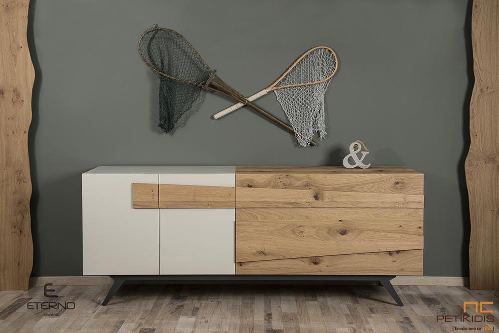Μπουφές Free σε ξύλο ρουστίκ δρυς και λάκα.Διαθέτει ένα μεγάλο ντουλάπι,ένα μικρό και ένα συρτάρι.