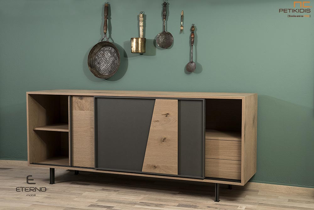 Μπουφές Harmony σε ξύλο δρυς ρουστίκ. Διαθέτει εσωτερικά συρτάρια και πόρτες συρόμενες για μεγαλύτερη ευκολία στο χώρο.Λεπτομέρεια.