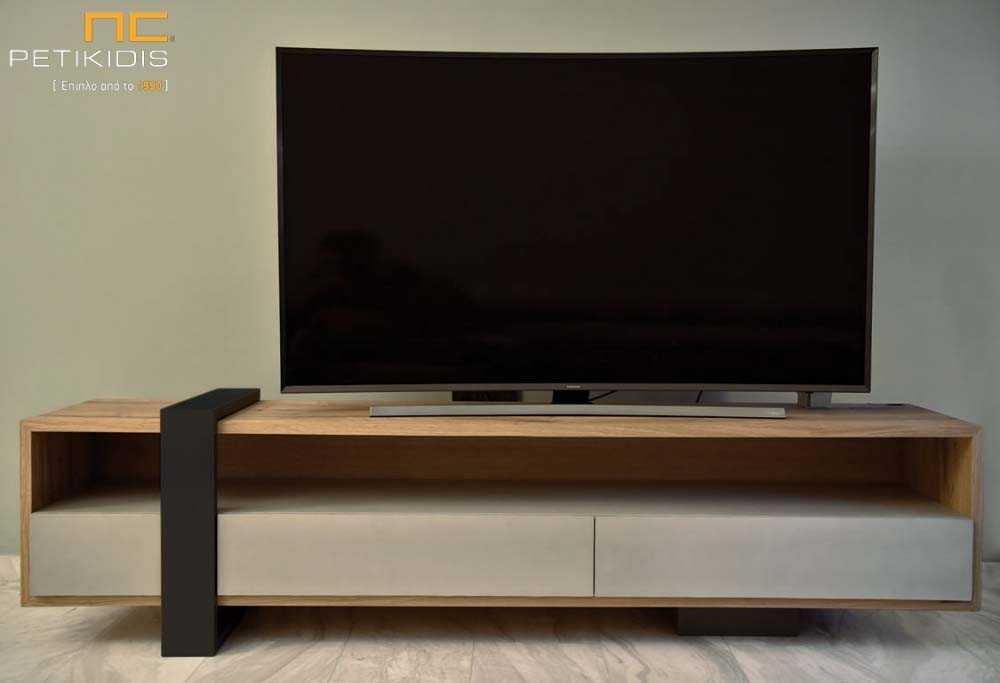 Μοντέρνα Έπιπλο Τηλεόρασης - Δρυς, Λάκα, Μέταλλο