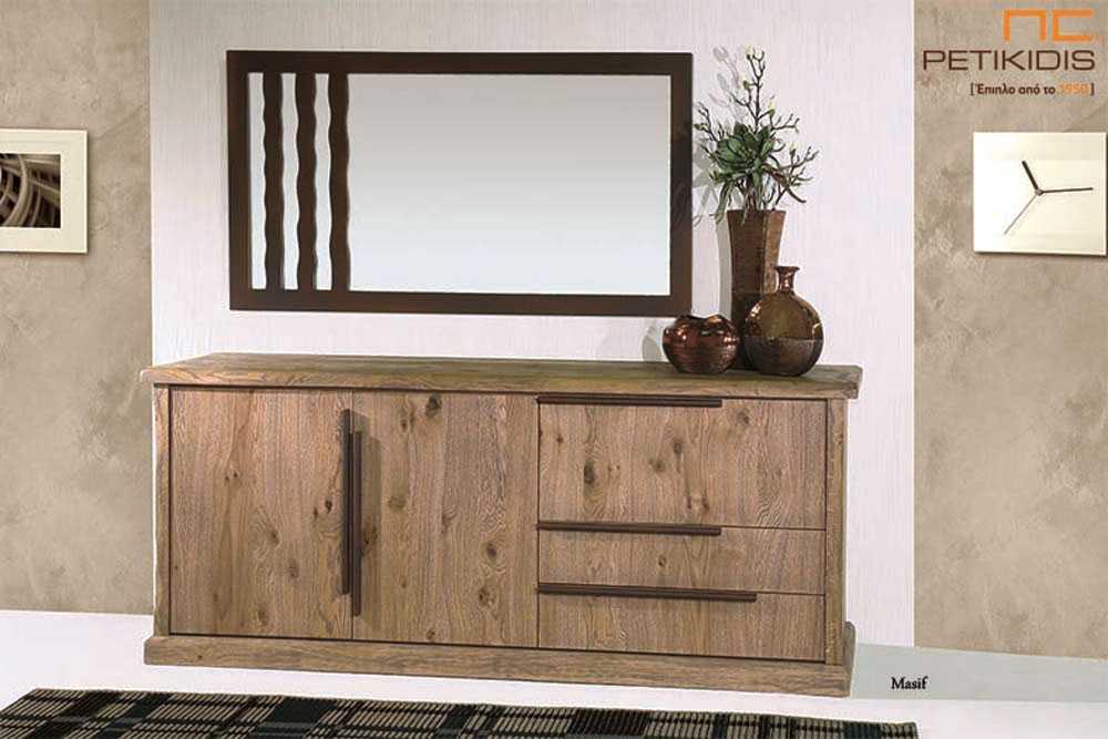 Μπουφές Masif από ξύλο ρουστίκ δρυς (καπλαμάς) με ντουλάπι και συρτάρια. Διαθέτει και μακρόστενο καθρέπτη.