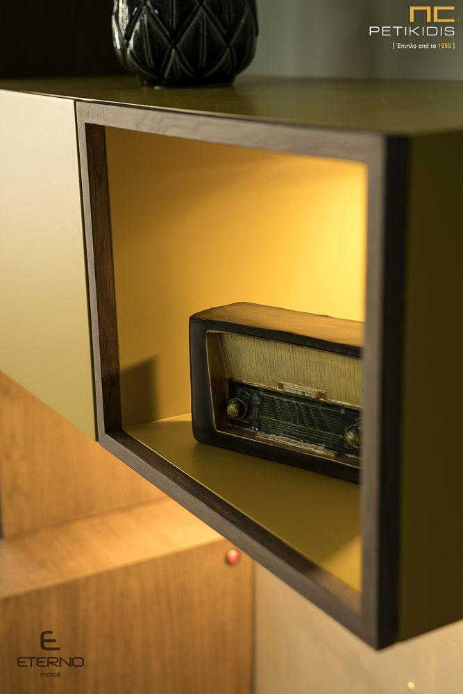 Μοντέρνα Σύνθεση Soho Ξύλο Δρυς με Λάκα & Φωτισμό