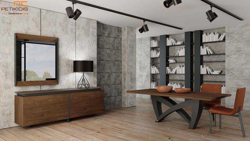 Τραπεζαρία και μπουφές MARE από ξύλο καρυδιάς και λεπτομέρειες λάκας. Το τραπέζι διαθέτει προέκταση.