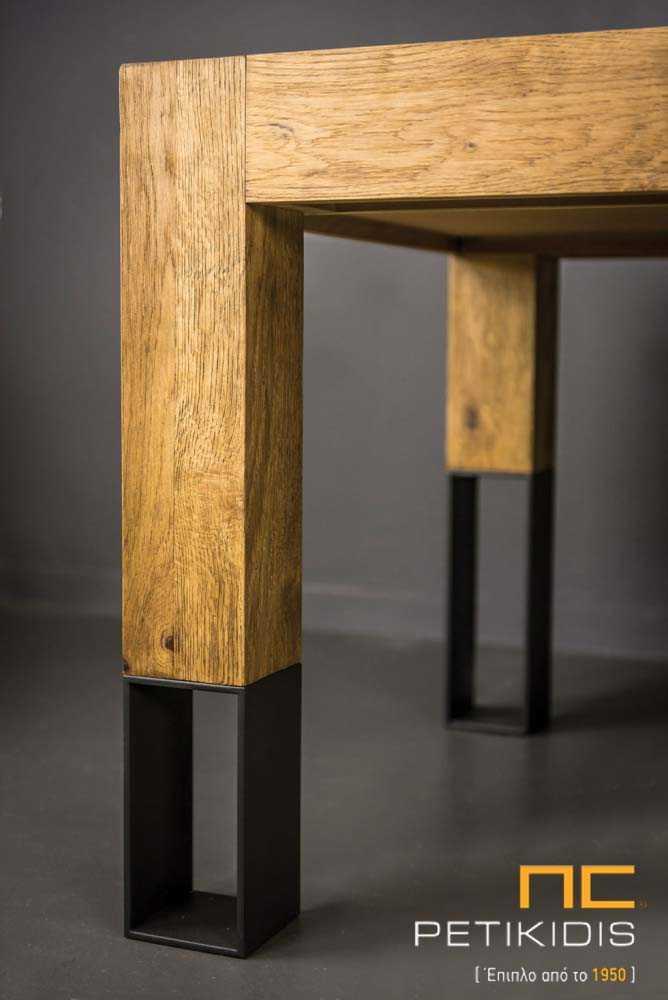 Τραπεζαρία Cube από Ξύλο Ρουστίκ Δρυς & Μεταλλικά Πόδια