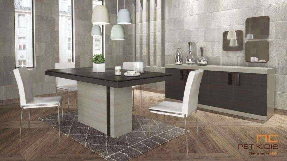 Τραπεζαρία Fino. Τραπέζι από ξύλο δρυς με λεπτομέρειες από λάκα και δυνατότητα προέκτασης. Μπουφές Fino με δύο μεγάλα ντουλάπια από ξύλο δρυς.