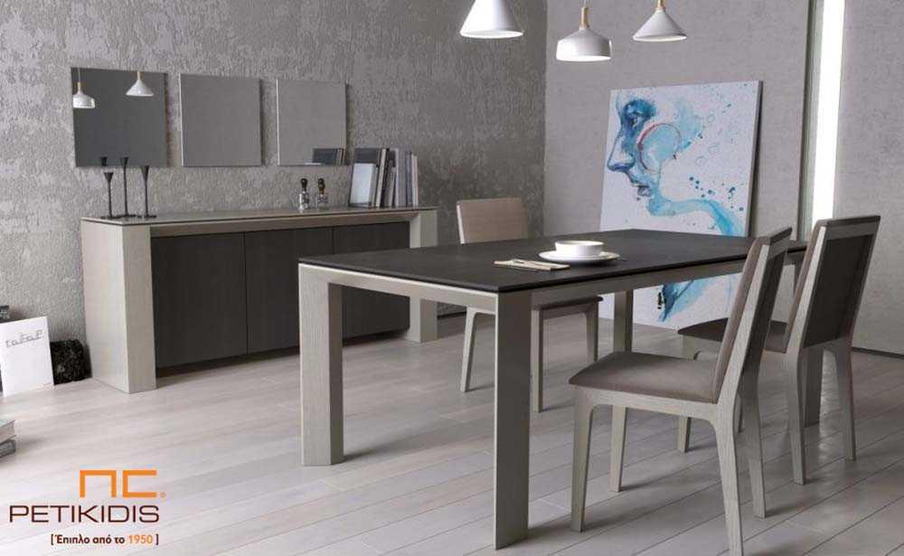 Τραπέζι Flat από ξύλο δρυς με δυνατότητα προέκτασης.Μπουφές Flat με δύο ντουλάπια και καρέκλες Νο85 σε μασίφ ξύλο δρυς με ύφασμα αλέκιαστο και αδιάβροχο.