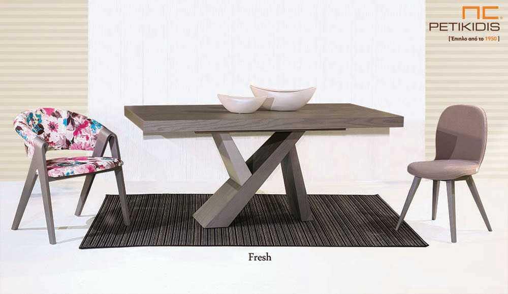 Τραπεζαρία Fresh από ξύλο δρυς με κεντρικό πόδι.Διαθέτει δυνατότητα προέκτασης.