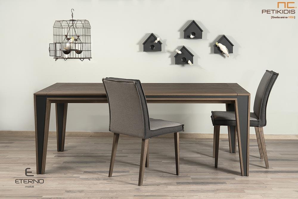 Τραπεζαρία Harmony από ξύλο δρυς και λεπτομέρειες με λάκα.Διαθέτει δυνατότητα προέκτασης. Καρέκλες Hrmony με διπλό χρώμα στο ύφασμα.