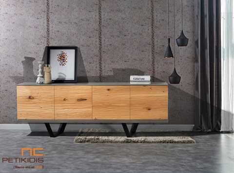Μπουφές Log σε συνδυασμό δρυς ρουστίκ ξύλου, λάκα και μεταλλικά πόδια.