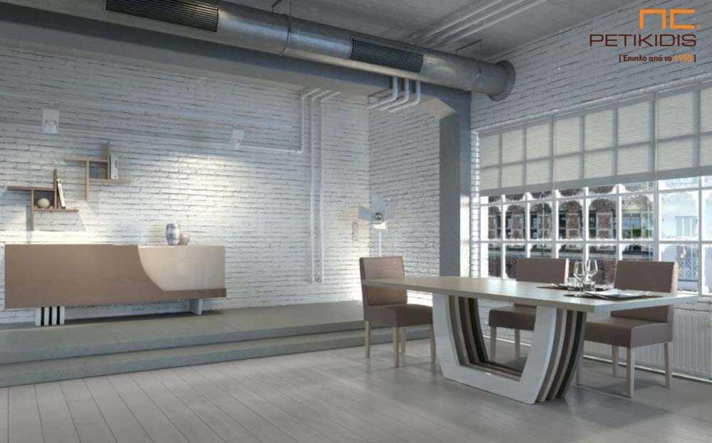 Σετ τραπεζαρίας Notos από ξύλο δρυς και γυαλιστερή λάκα.Το τραπέζι διαθέτει κεντρικό πόδι από τέσσερα διαφορετικά χρώματα λάκας λάκα και έχει τη δυνατότητα προέκτασης και από τις δύο πλευρές του. Ο μπουφές έχει δύο μεγάλα ντουλάπια για αποθήκευση και η μία πόρτα είναι ανοιγόμενη και η άλλη συρόμενη.