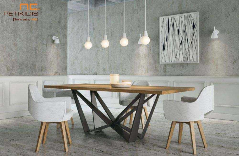 Τραπεζαρία Nouovo από ξύλο δρυς μασίφ και μεταλλικά πόδια. Καρέκλες Νο130 με ύφασμα αλέκιαστο και αδιάβροχο.