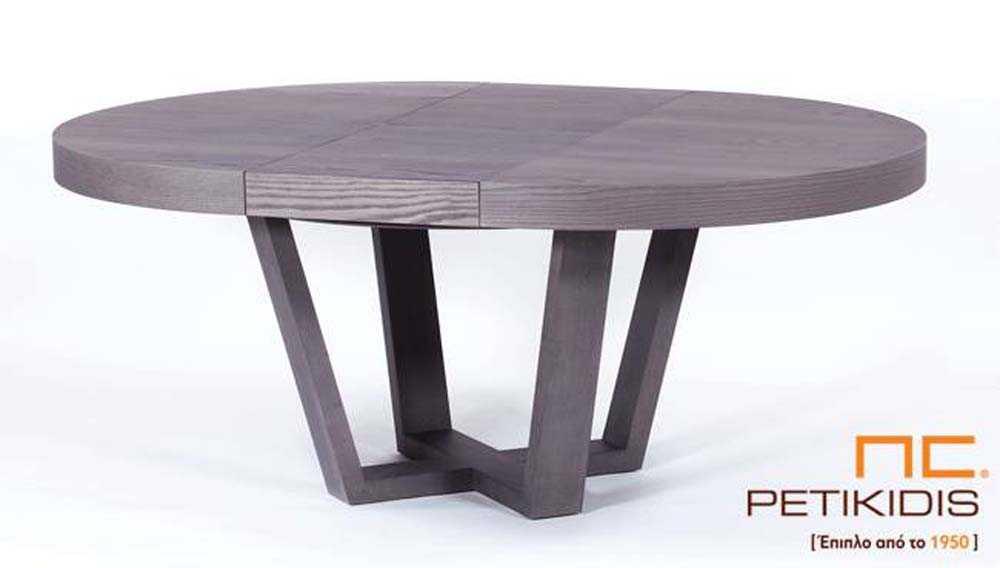 Τραπέζι Rottora T147 ροτόντα με δυνατότητα προέκτασης. Κατασκευάζεται από ξύλο δρυς.