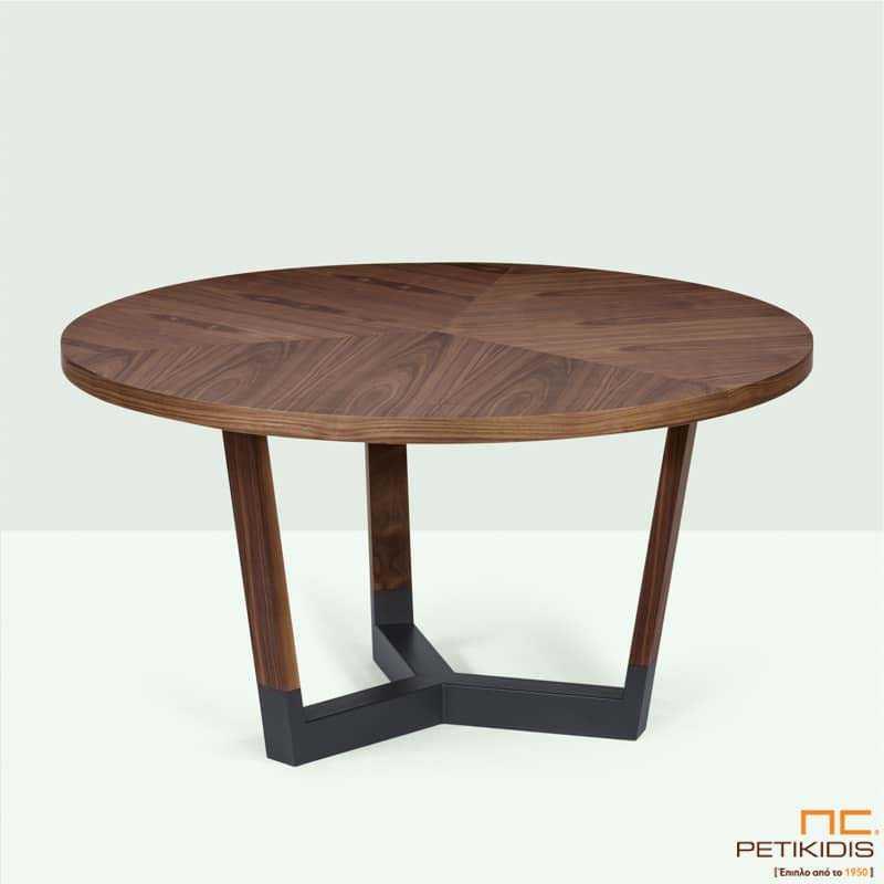 Τραπέζι Sito T154 ροτόντα σε ξύλο καρυδιάς και λεπτομέρειες λάκας στη βάση.