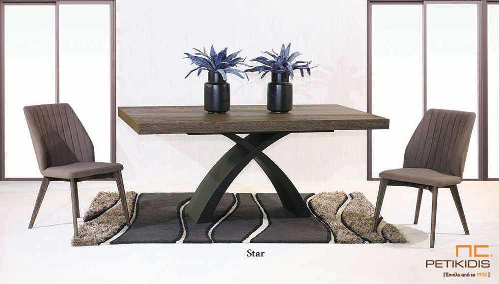 Τραπέζι Star ξύλο δρυς με πόδια από λάκα κεντρικά με δυνατότητα προέκτασης.