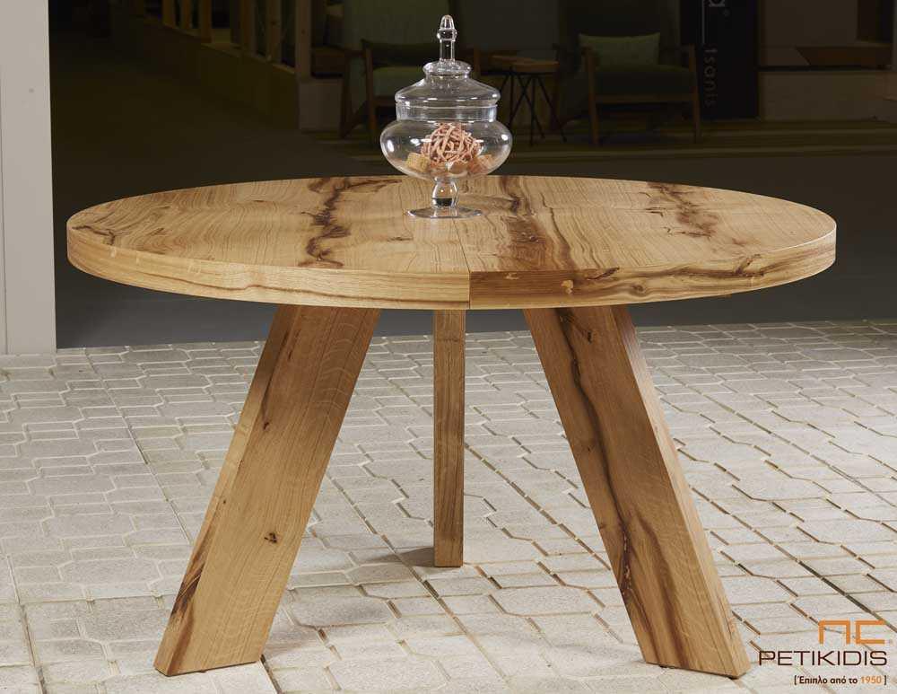 Τραπεζαρία ροτόντα Rustic από ξύλο δρυς ρουστίκ με τη δυνατότητα προέκτασης.