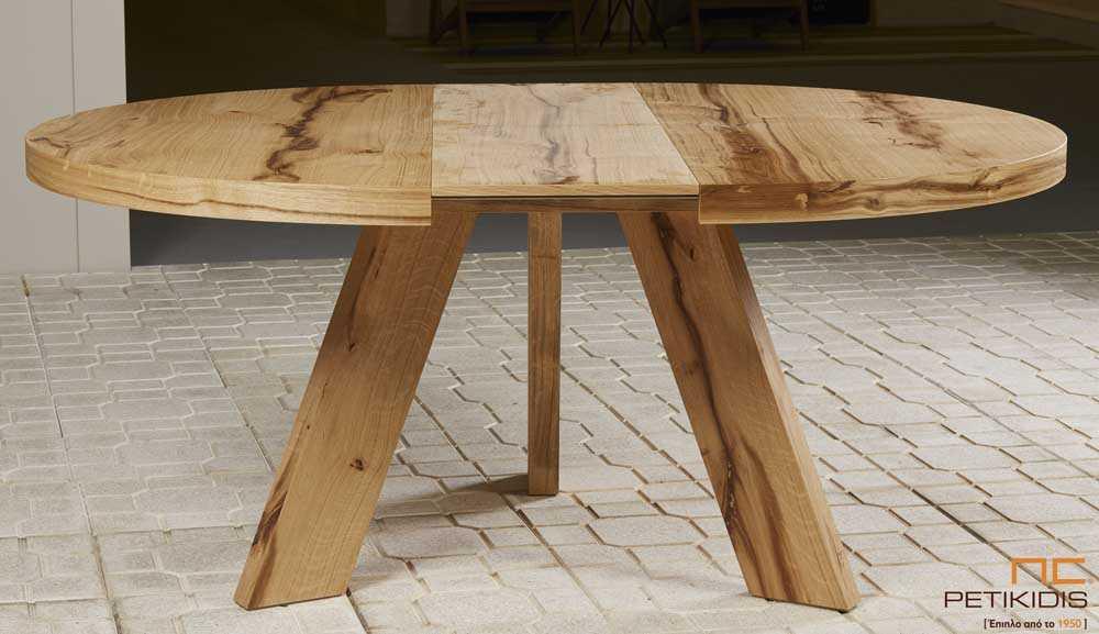 Τραπεζαρία ροτόντα Rustic από ξύλο δρυς ρουστίκ με τη δυνατότητα προέκτασης. Λεπτομέρεια.