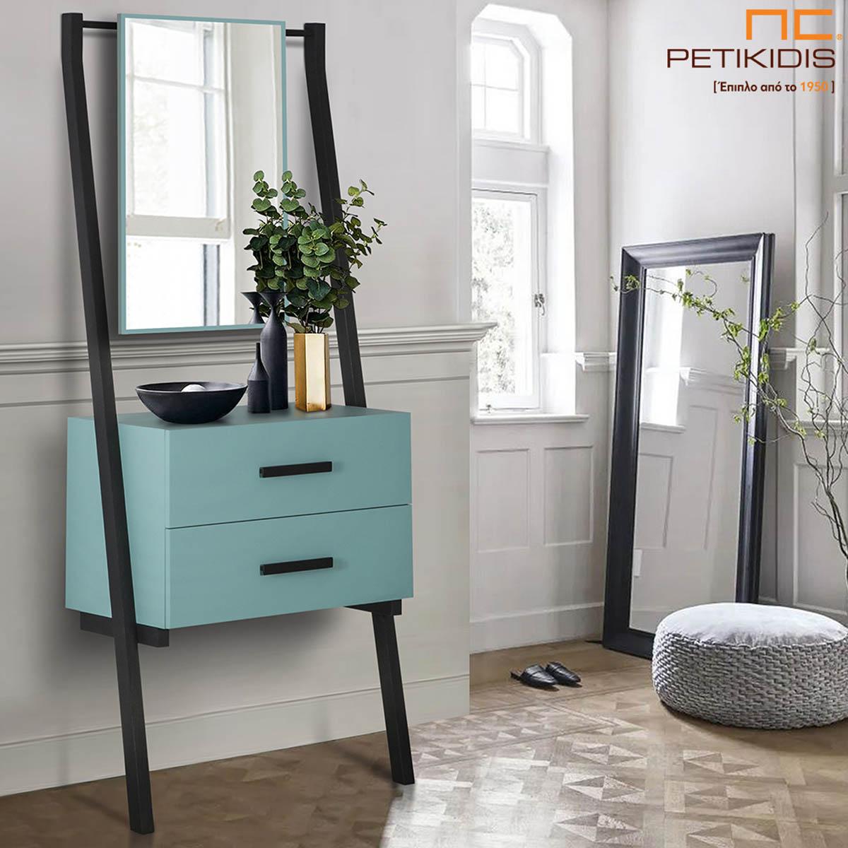 Έπιπλο εισόδου, κονσόλα Bruce από ξύλο και λάκα. Διαθέτει δυο συρτάρια και καθρέπτη. Ένα «εύκολο» μικροέπιπλο που μπορεί να τοποθετηθεί στην είσοδο του σπιτιού, στο καθιστικό και στην κρεβατοκάμαρα.