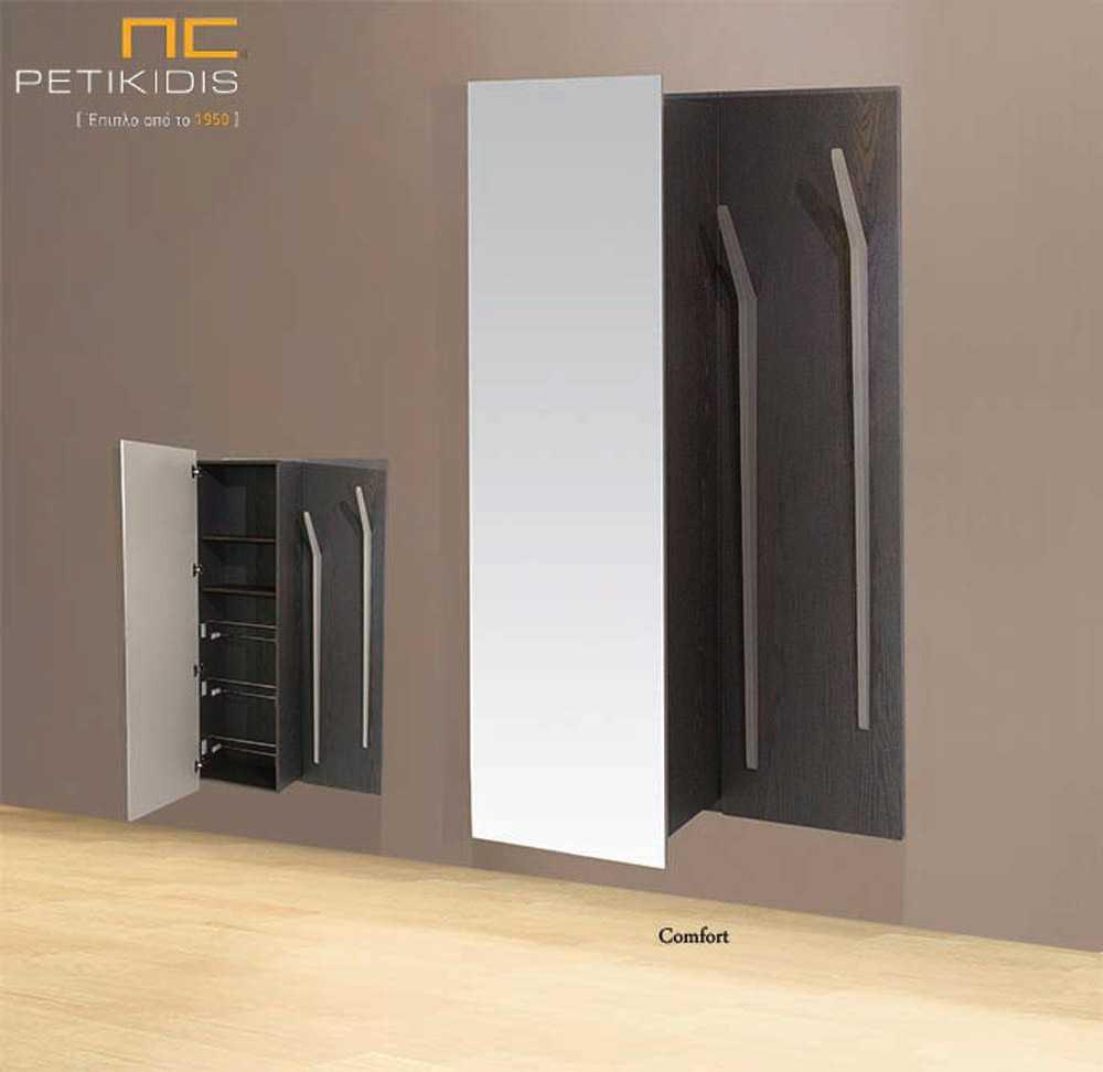 Κονσόλα Comfort από ξύλο δρυς και λεπτομέρειες από λάκα. Διαθέτει ντουλάπι με πόρτα από ολόσωμο καθρέπτη και εσωτερικά είναι παπουτσοθήκη και στη δεξιά πλευρά έχει κρεμάστρες.