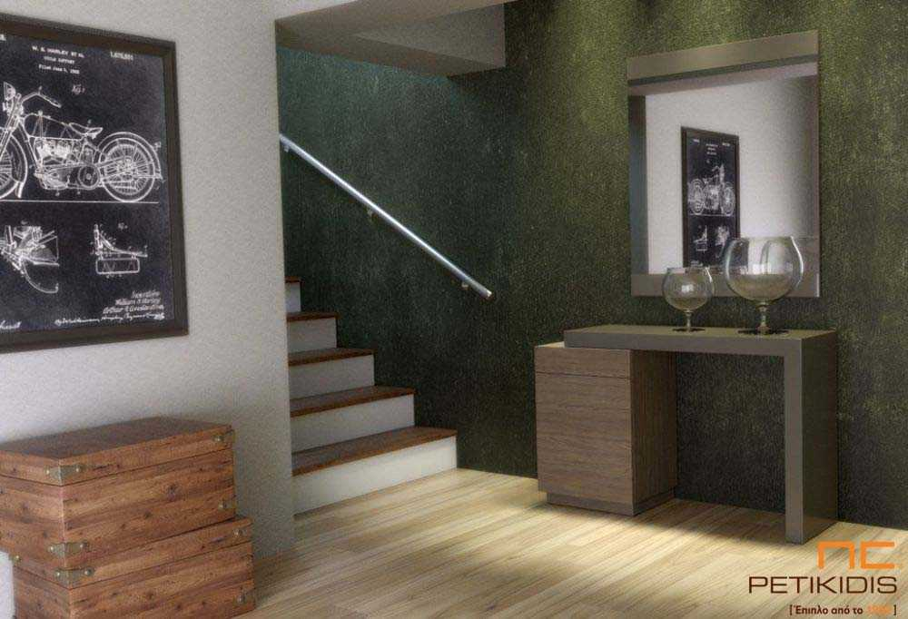 Κονσόλα Dream από ξύλο δρυς και λεπτομέρεια από λάκα. Διαθέτει αποθηκευτικό χώρο.