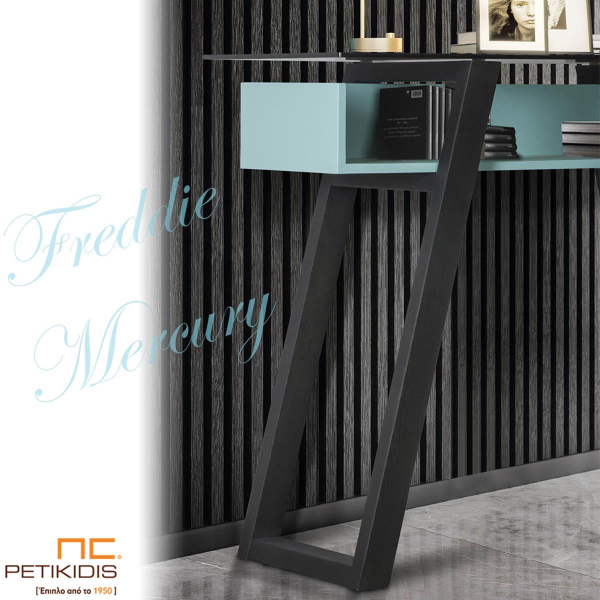 Κονσόλα Freddie σε συνδυασμό ξύλου, λάκας και γυαλιού. Απόλυτα χρηστικό και minimal δίνει την δική του «νότα» στον χώρο που θα το τοποθετήσετε. Λεπτομέρεια.