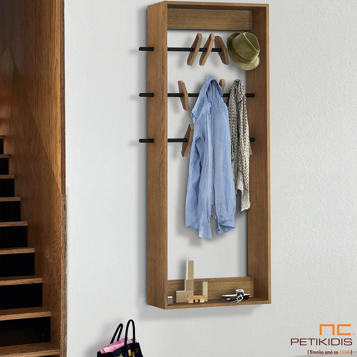 Κρεμάστρα Cliff από ξύλο δρυς και μεταλλικά στοιχεία. Ο ιδιαίτερος σχεδιασμός του δίνει μια αισθητική γλυπτού στο χώρο και είναι ιδανικό για χώρους εισόδου, σαλονιού και υπνοδωματίων.