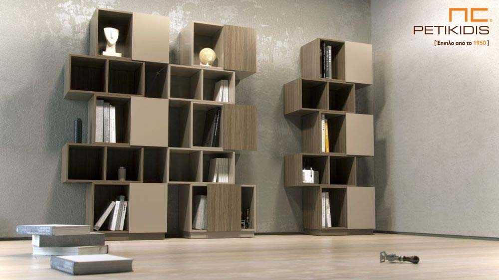 Ραφιέρα και βιβλιοθήκη Veto σε συνδυασμό ξύλου καρυδιάς και λάκα.