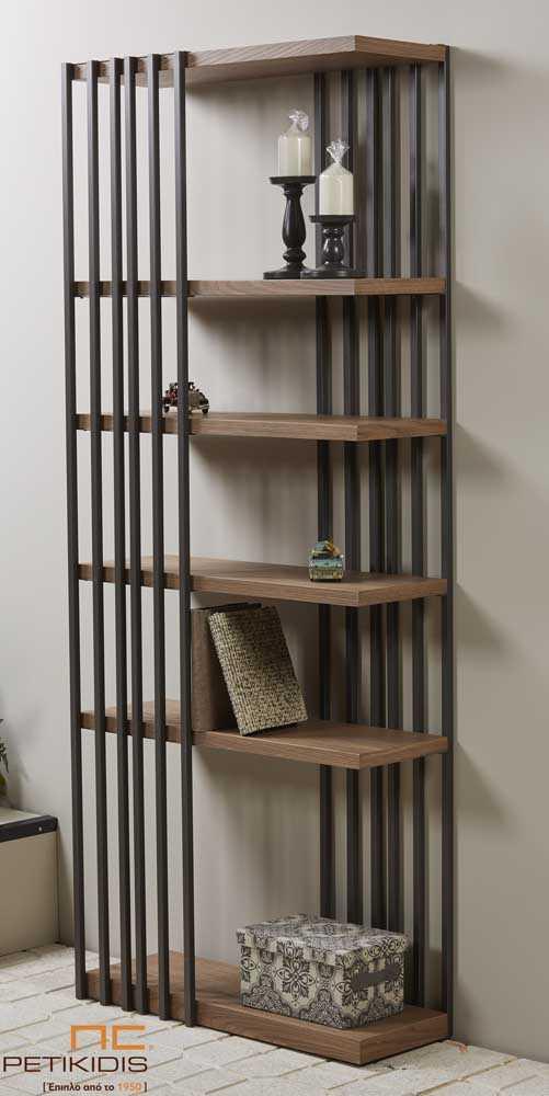 Βιβλιοθήκη Στήλη με Σχέδιο από Ξύλο Δρυός & Σίδερο - Emma