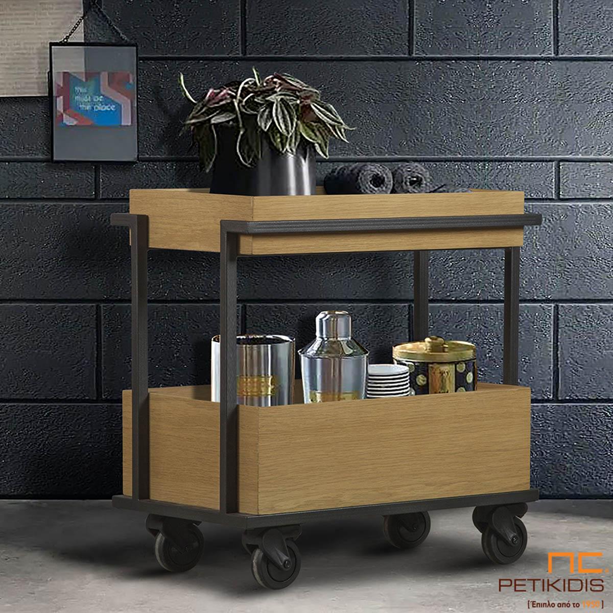 Βοηθητικό τραπεζάκι Bob troley bar. Είναι κατασκευασμένο από ξύλο σρυς και μεταλλικό σκελετό και διαθέτει ρόδες για εύκολη μετακίνηση μέσα στο χώρο.