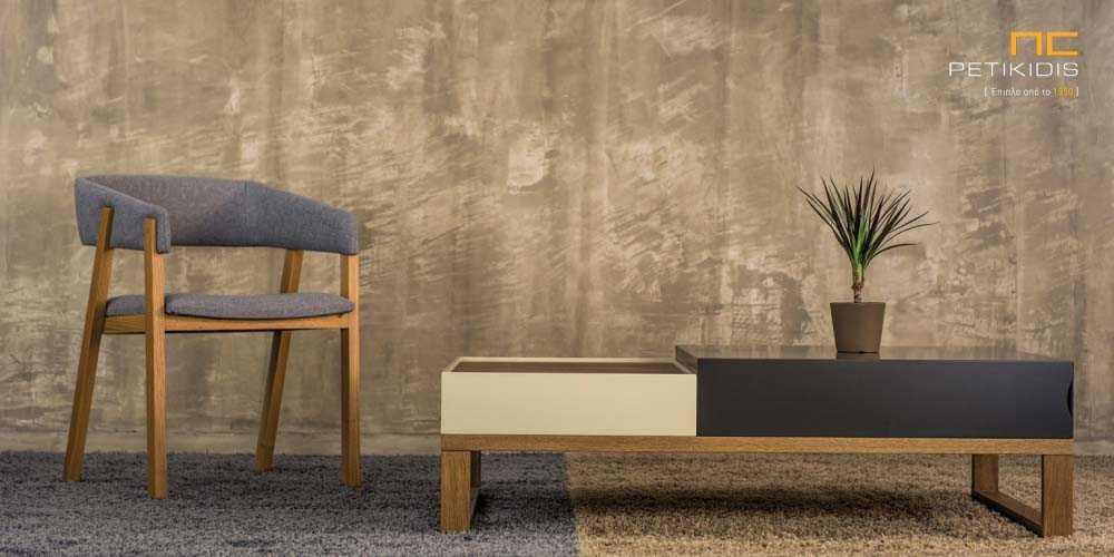 Τραπεζάκι σαλονιού Albero από ξύλο δρυς και λάκα. Διαθέτει ένα μεγάλο συρτάρι.