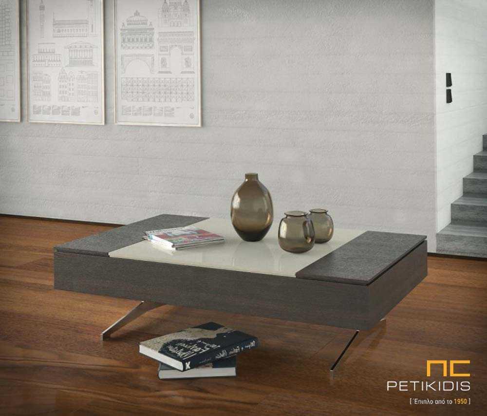 Τραπεζάκι σαλονιού Elite από ξύλο δρυς και λάκα με μεταλλικά πόδια.Διαθέτει ένα μεγάλο σερβιτόρο και δύο ντουλάπια με αποθηκευτικούς χώρους.