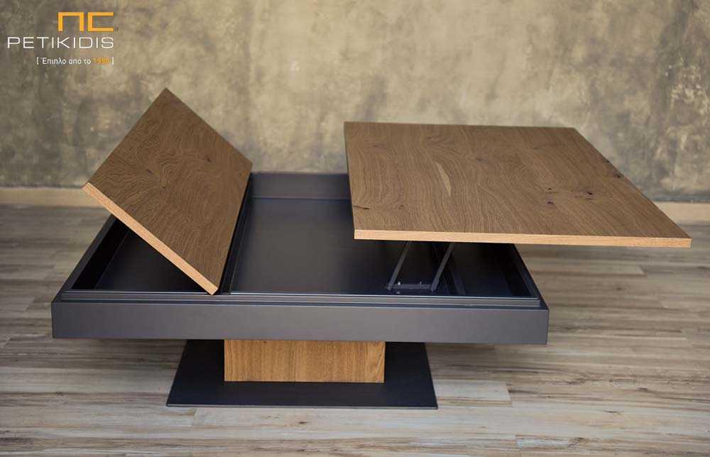 Τραπεζάκι σαλονιού Wood από ξύλο δρυς ρουστίκ και λάκα γκοφρέ. Διαθέτει ένα σερβιτόρο και ένα ντουλάπι για αποθηκευτικό χώρο. Λεπτομέρεια.