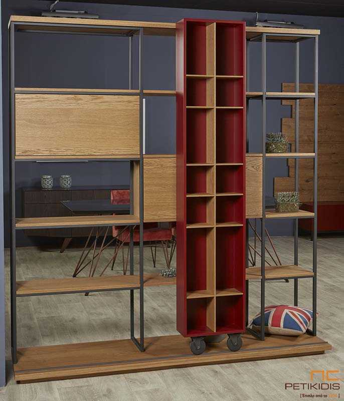 Βιβλιοθήκη Marvel πό Ξύλο Δρυς με Μεταλλικά Στοιχεία / Ράφια - Ντουλάπια