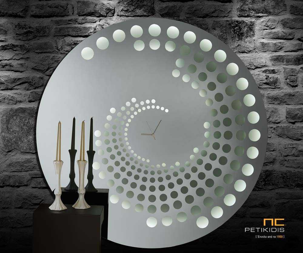 Επιτοίχιος Στρογγυλός Καθρέπτης Φιμέ με Ρολόι LED