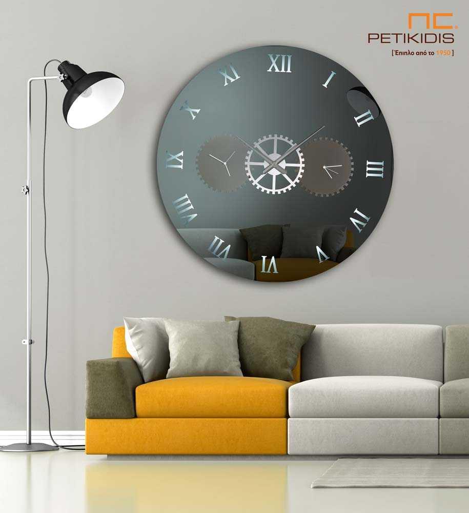 Στρογγυλός Καθρέπτης Τοίχου με 3 Ρολόγια