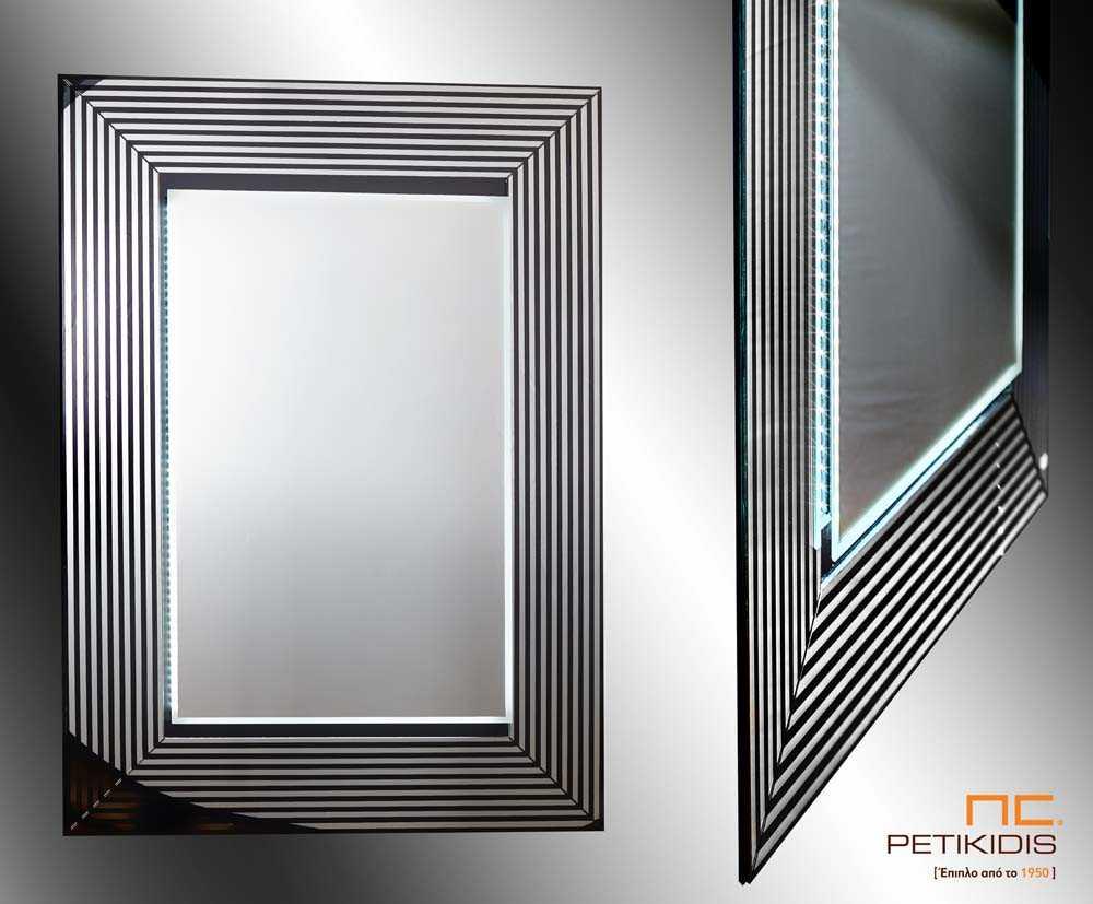 Επιτοίχιος Καθρέπτης με Ρίγες και Φωτισμό LED
