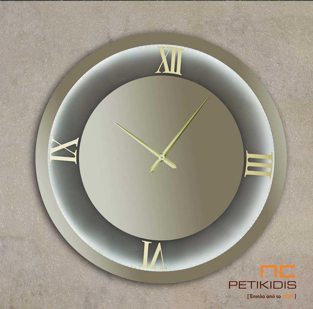 Στρογγυλός Καθρέπτης Φιμέ με Ρολόι και Φωτισμό LED