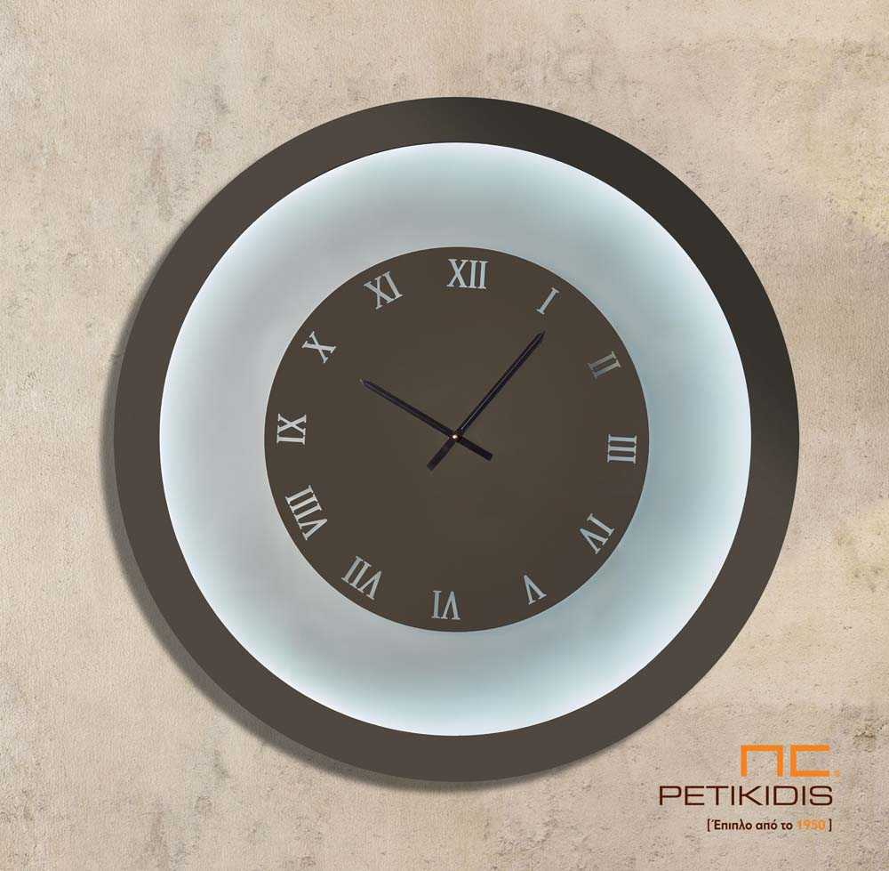Στρογγυλός Καθρέπτης Ρολόι με Αμοβολή και Φωτισμό LED