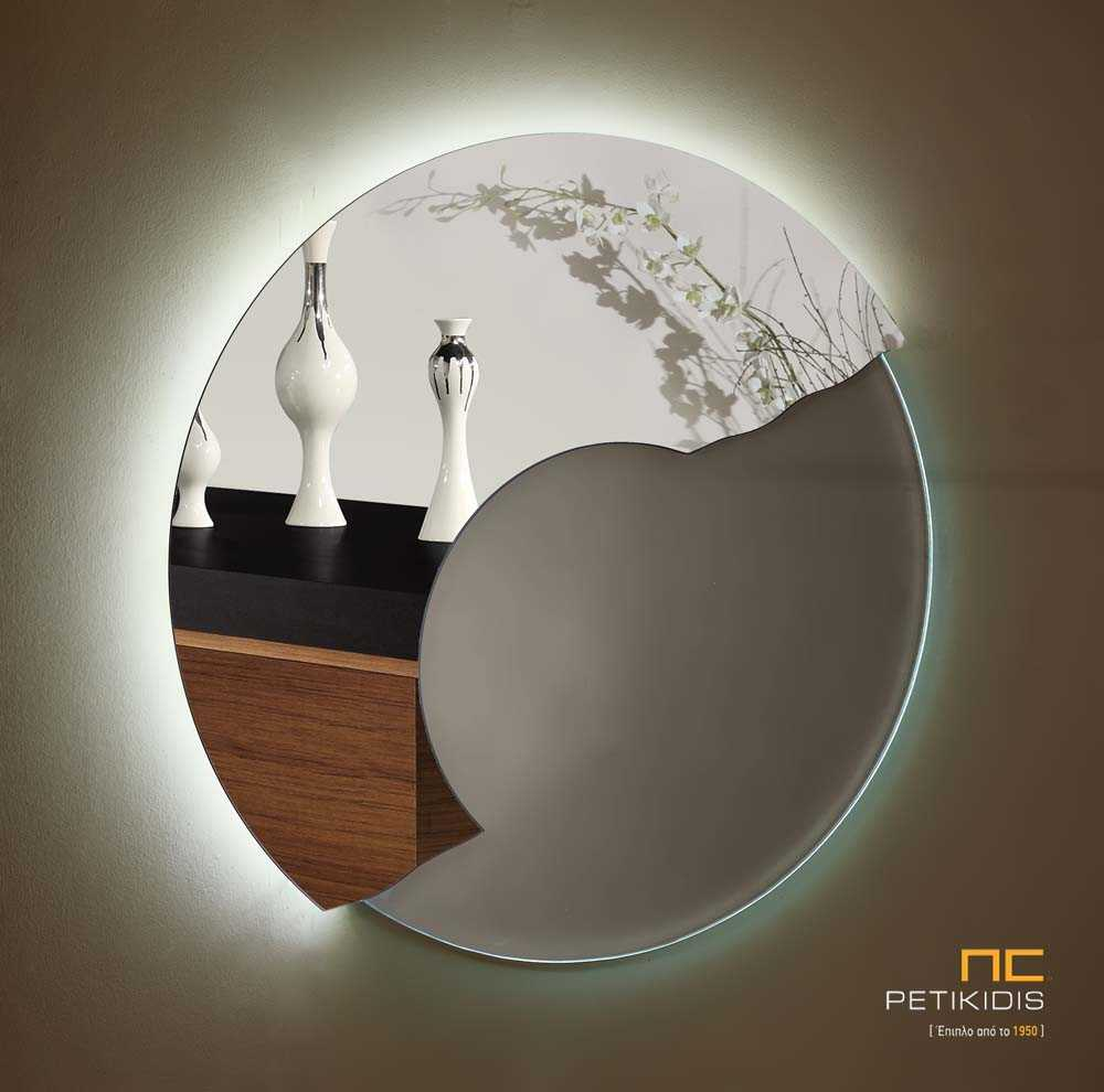 Στρογγυλός Διάφανος Καθρέπτης με Φωτισμό LED