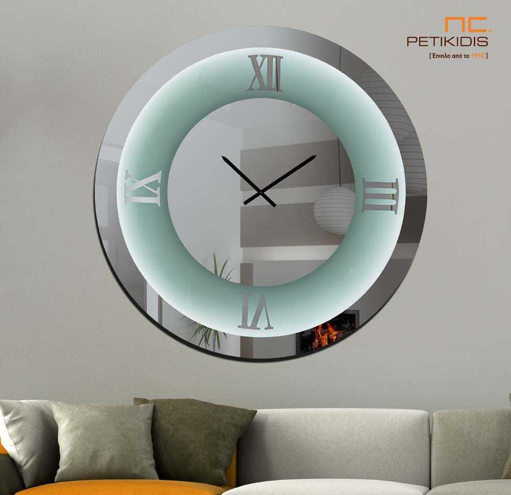 Στρογγυλός Καθρέπτης Ρολόι με Λατινικούς Χαρακτήρες