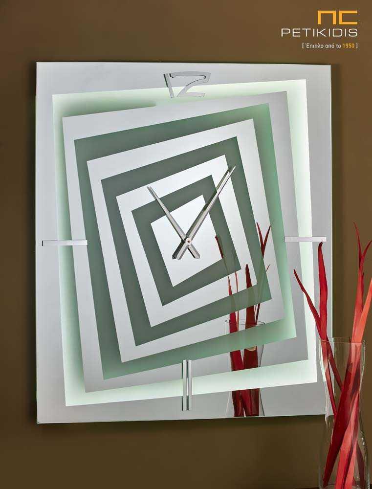 Τετράγωνος Καθρέπτης με Ρολόι και Φωτισμό LED