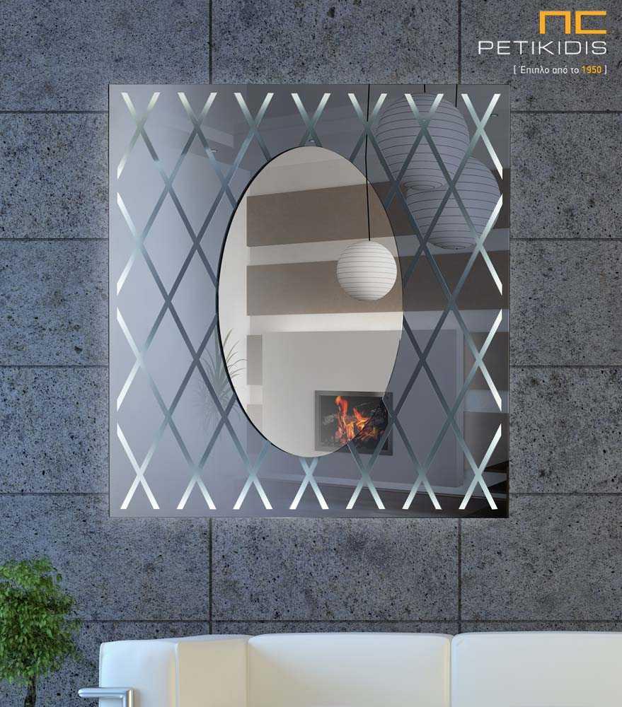 Τετράγωνος Καθρέπτης με Οβάλ LED