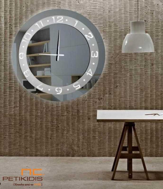 Στρογγυλός Καθρέπτης Ρολόι με Διακοσμητικό Ατσάλι & Φωτισμό (C70)