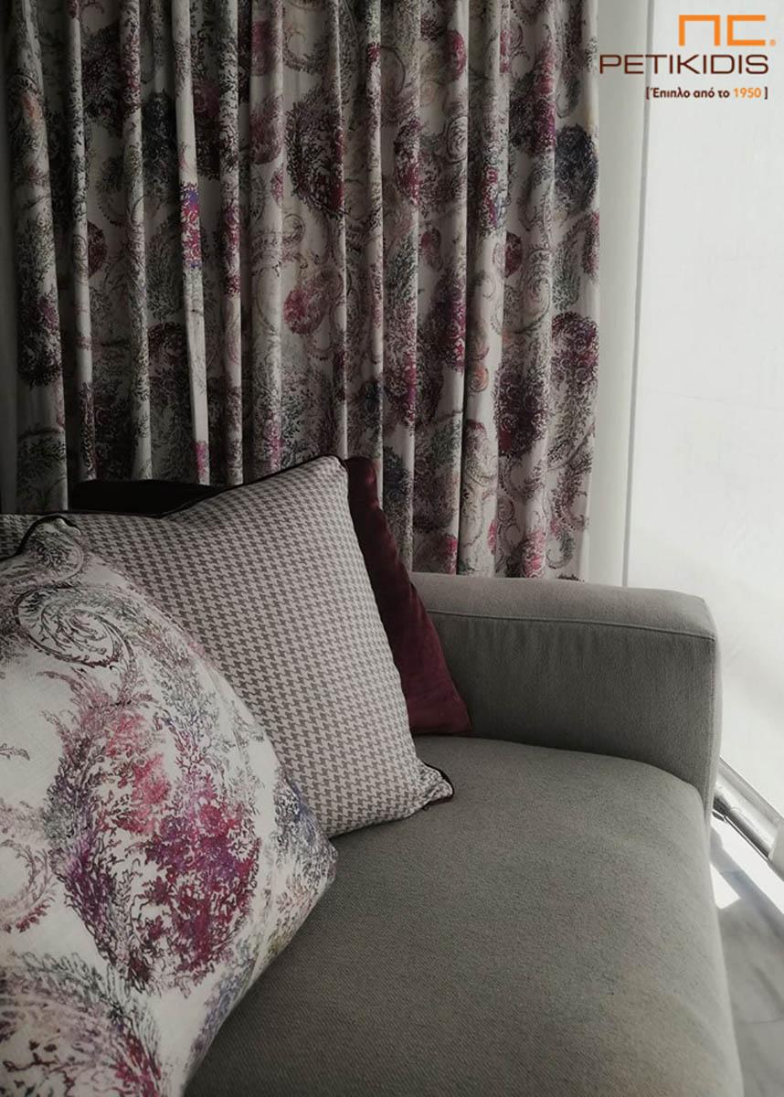 Κουρτίνα από λινό διακοσμητικό λαχούρι σε εκρού και μοβ αποχρώσεις (κωδ. ΚΡΤ277)